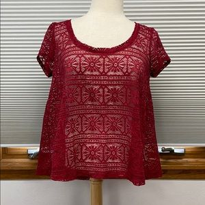 NWT AEO wine sheer lace layering short sleeve top